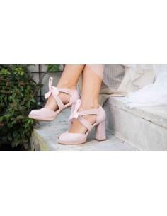zapatos de novia tacon ancho