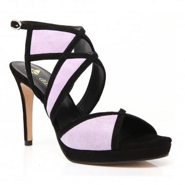 sandalias negras malva