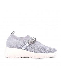 zapatillas deportivas plateadas plataforma