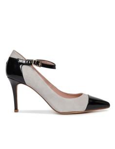 zapatos de ante rosa y charon negro
