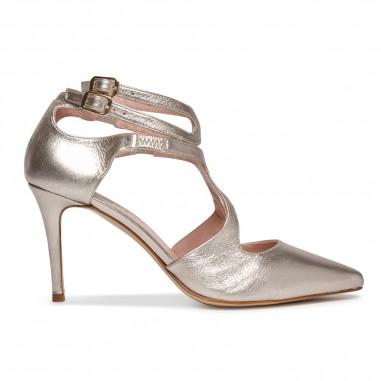 zapatos de piel metalizada