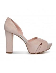 sandalias en ante rosa