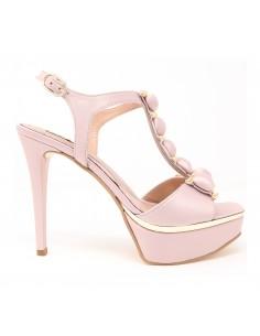 sandalia alta novia rosa